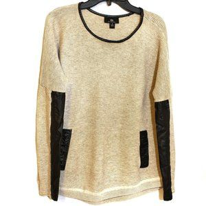 I.N. San Francisco Beige and Faux Leather Sweater